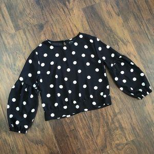 Girl's Chiffon Bubble Sleeve Polka Dot Shirt
